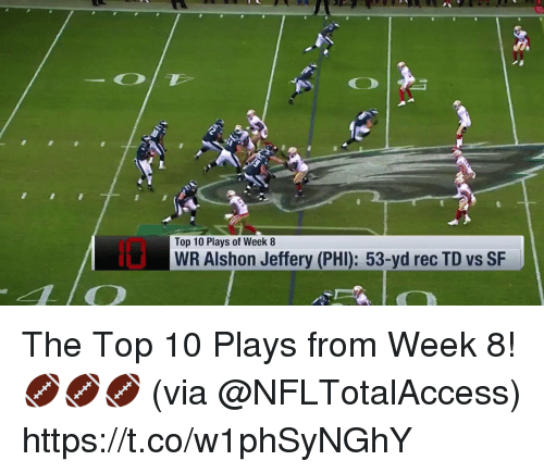 Memes, Alshon Jeffery, and 🤖: Top 10 Plays of Week 8  WR Alshon Jeffery (PHI): 53-yd rec TD vs SF The Top 10 Plays from Week 8! 🏈🏈🏈  (via @NFLTotalAccess) https://t.co/w1phSyNGhY
