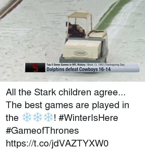 The Best Games: Top 5 Snow Games in NFL History I Week 13, 1993 (Thanksgiving Day)  Dolphins defeat Cowboys 16-14 All the Stark children agree...  The best games are played in the ❄️❄️❄️! #WinterIsHere #GameofThrones https://t.co/jdVAZTYXW0