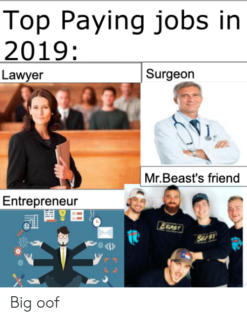 Lawyer: Top Paying jobs in  2019:  Surgeon  Lawyer  Mr.Beast's friend  Entrepreneur  EEAST  SE S1  4i> Big oof