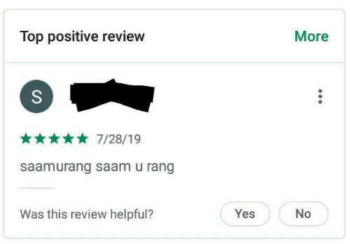 yes no: Top positive review  More  7/28/19  saamurang saam u rang  Was this review helpful?  Yes  No