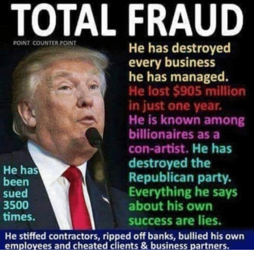 Party, Republican Party, and Lost: TOTAL FRAUD  POINT COUNTER POINT  He has destroyed  every business  he has managed.  He lost $905 million  in just one year.  He is known among  billionaires as a  con-artist. He has  destroyed the  Republican party.  Everything he says  about his own  success are lies  He has  been  sued  3500  times  He stiffed contractors, ripped off banks, bullied his own  employees and cheated clients &business partners.