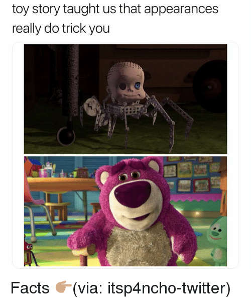Facts, Funny, and Toy Story: toy story taught us that appearances  really do trick you Facts 👉🏽(via: itsp4ncho-twitter)