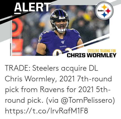 via: TRADE: Steelers acquire DL Chris Wormley, 2021 7th-round pick from Ravens for 2021 5th-round pick. (via @TomPelissero) https://t.co/lrvRafM1F8
