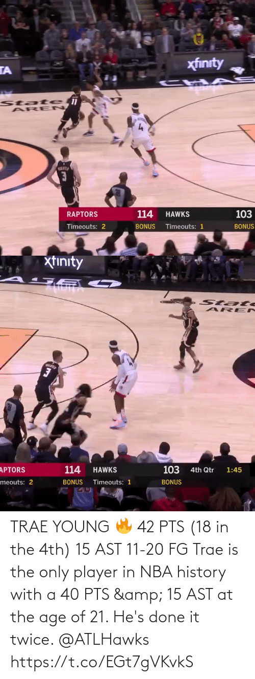 At: TRAE YOUNG 🔥  42 PTS (18 in the 4th) 15 AST 11-20 FG  Trae is the only player in NBA history with a 40 PTS & 15 AST at the age of 21. He's done it twice. @ATLHawks   https://t.co/EGt7gVKvkS