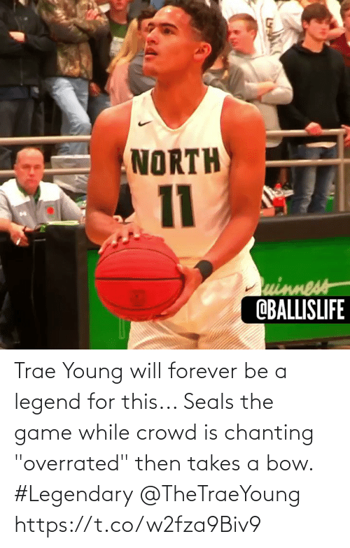 """legendary: Trae Young will forever be a legend for this... Seals the game while crowd is chanting """"overrated"""" then takes a bow. #Legendary @TheTraeYoung https://t.co/w2fza9Biv9"""