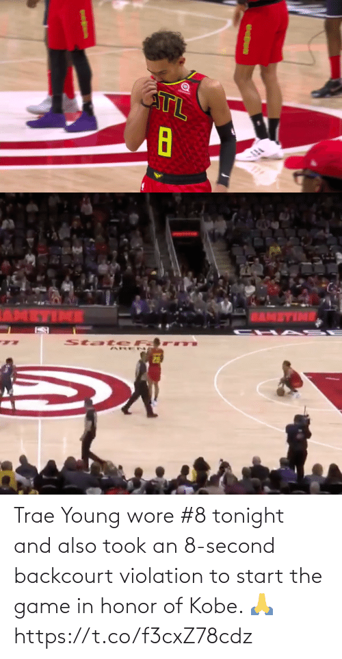 honor: Trae Young wore #8 tonight and also took an 8-second backcourt violation to start the game in honor of Kobe. 🙏 https://t.co/f3cxZ78cdz