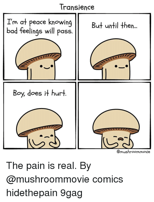 at-peace: Transience  I'm at peace knowing  bad feelings will pass.  But until then...  Boy, does it hurt  @mushroommovie The pain is real. By @mushroommovie comics hidethepain 9gag