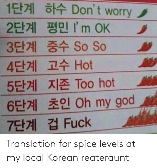 Translation: Translation for spice levels at my local Korean reateraunt