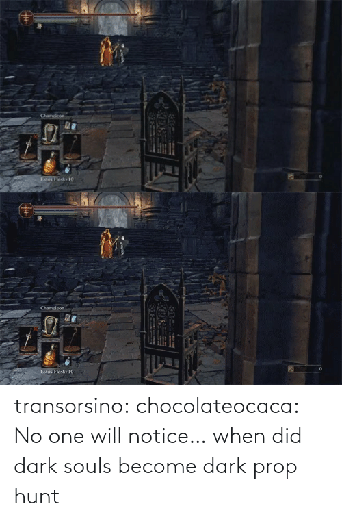When: transorsino:  chocolateocaca:  No one will notice…  when did dark souls become dark prop hunt