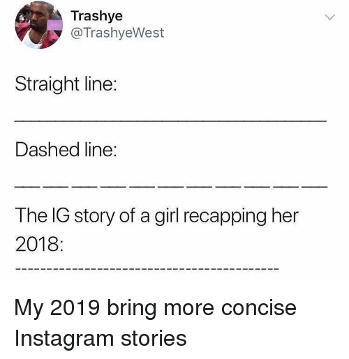 Funny, Instagram, and Girl: Trashye  @TrashyeWest  Straight line:  Dashed line:  The IG story of a girl recapping her  2018 My 2019 bring more concise Instagram stories