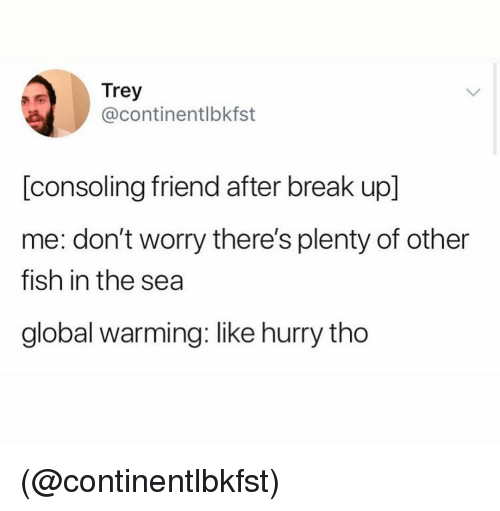 Global Warming, Break, and Fish: Trey  @continentlbkfst  [consoling friend after break up]  me: don't worry there's plenty of other  fish in the sea  global warming: like hurry tho (@continentlbkfst)