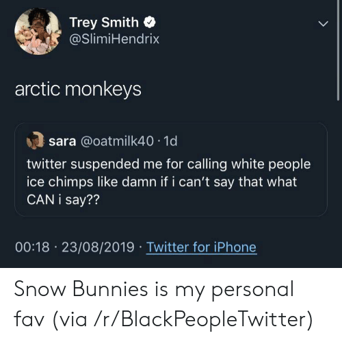 Blackpeopletwitter, Bunnies, and Iphone: Trey Smith  @SlimiHendrix  arctic monkeys  sara @oatmilk40 1d  twitter suspended me for calling white people  ice chimps like damn if i can't say that what  CAN i say??  00:18 23/08/2019 Twitter for iPhone Snow Bunnies is my personal fav (via /r/BlackPeopleTwitter)