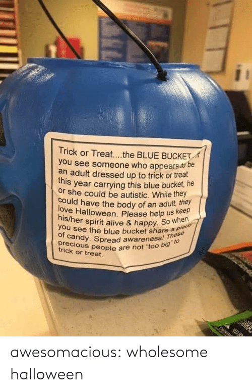 """See Someone: Trick or Treat...the BLUE BUCKET  you see someone who appears be  an adult dressed up to trick or treat  year carrying this blue bucket, he  this  or she could be autistic. While they  love Halloween. Please help us keep  his/her spirit alive & happy. So when  could have the body of an adult, they  you see the blue bucket share a plece  of candy. Spread awareness! These  precious people are not """"too big to  HE  trick or treat.  ARRA  WAR awesomacious:  wholesome halloween"""