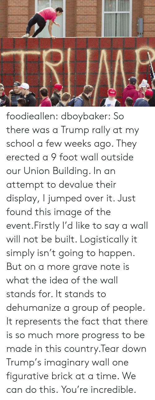 firstly: TRIIMB  COO foodieallen:  dboybaker:  So there was a Trump rally at my school a few weeks ago. They erected a 9 foot wall outside our Union Building. In an attempt to devalue their display, I jumped over it. Just found this image of the event.Firstly I'd like to say a wall will not be built. Logistically it simply isn't going to happen. But on a more grave note is what the idea of the wall stands for. It stands to dehumanize a group of people. It represents the fact that there is so much more progress to be made in this country.Tear down Trump's imaginary wall one figurative brick at a time. We can do this.  You're incredible.