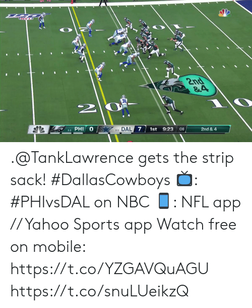 Memes, Nfl, and Sports: TRT  2nd  &4  31  3-3 PHI  33 DAL 7  1st  9:23  08  2nd & 4  AV .@TankLawrence gets the strip sack! #DallasCowboys  📺: #PHIvsDAL on NBC 📱: NFL app // Yahoo Sports app Watch free on mobile: https://t.co/YZGAVQuAGU https://t.co/snuLUeikzQ