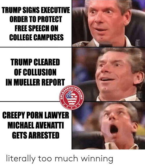 College, Creepy, and Lawyer: TRUMP SIGNS EXECUTIVE  ORDER TO PROTECT  FREE SPEECH ON  COLLEGE CAMPUSES  TRUMP CLEARED  OF COLLUSION  IN MUELLER REPORT  OTET  CREEPY PORN LAWYER  MICHAEL AVENATTI  GETS ARRESTED literally too much winning