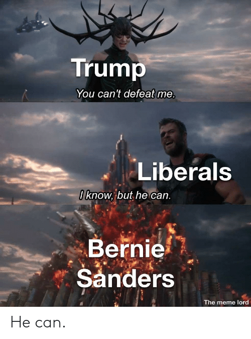 Bernie Sanders, Meme, and Trump: Trump  You can't defeat me.  Liberals  0 know, but he can.  Bernie  Sanders  The meme lord He can.