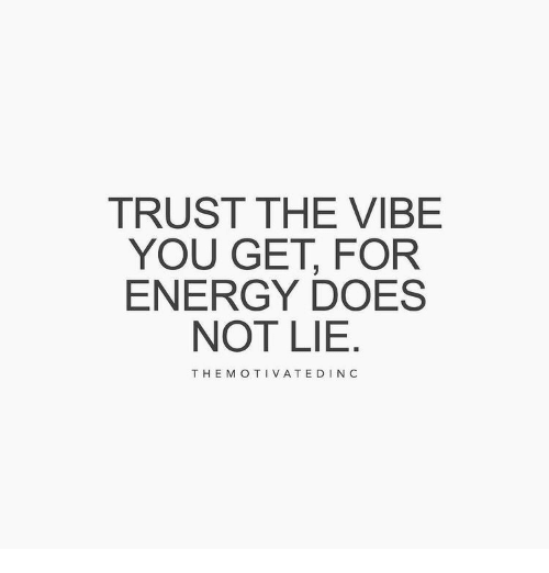 The Vibe: TRUST THE VIBE  YOU GET, FOR  ENERGY DOES  NOT LIE  THE M OTIVATEDIN C