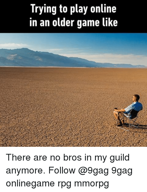 guild: Trying to play online  in an older game like There are no bros in my guild anymore. Follow @9gag 9gag onlinegame rpg mmorpg