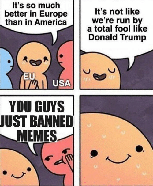 Donald Trump: t's so much  better in Europe  It's not like  we're run b  than in Americaa total sool like  Donald Trump  EU  well USA  YOU GUYS  JUST BANNED  MEMES