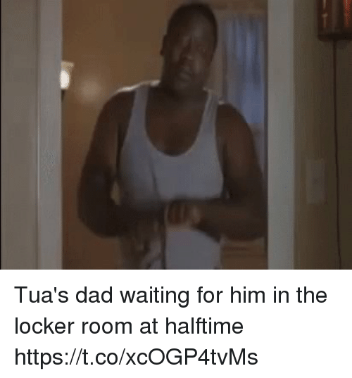 Dad, Football, and Nfl: Tua's dad waiting for him in the locker room at halftime https://t.co/xcOGP4tvMs