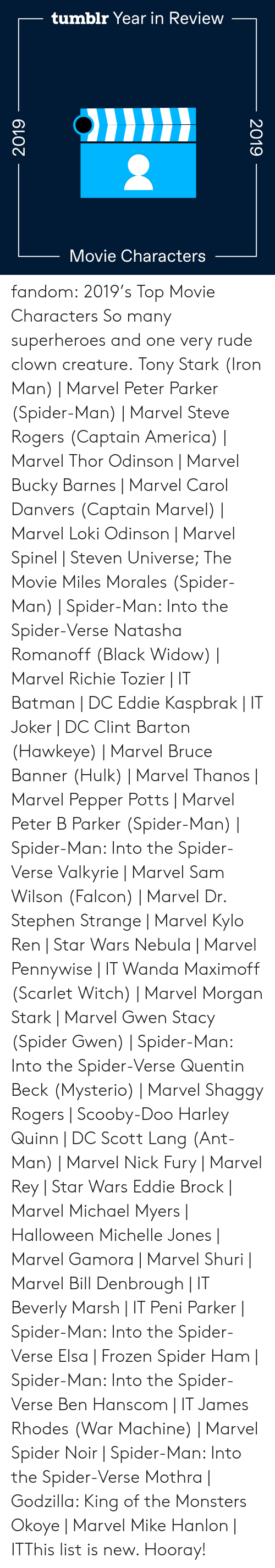 Steven Universe: tumblr Year in Review  Movie Characters  2019  2019 fandom:  2019's Top Movie Characters  So many superheroes and one very rude clown creature.  Tony Stark (Iron Man) | Marvel  Peter Parker (Spider-Man) | Marvel  Steve Rogers (Captain America) | Marvel  Thor Odinson | Marvel  Bucky Barnes | Marvel  Carol Danvers (Captain Marvel) | Marvel  Loki Odinson | Marvel  Spinel | Steven Universe; The Movie  Miles Morales (Spider-Man) | Spider-Man: Into the Spider-Verse  Natasha Romanoff (Black Widow) | Marvel  Richie Tozier | IT  Batman | DC  Eddie Kaspbrak | IT  Joker | DC  Clint Barton (Hawkeye) | Marvel  Bruce Banner (Hulk) | Marvel  Thanos | Marvel  Pepper Potts | Marvel  Peter B Parker (Spider-Man) | Spider-Man: Into the Spider-Verse  Valkyrie | Marvel  Sam Wilson (Falcon) | Marvel  Dr. Stephen Strange | Marvel  Kylo Ren | Star Wars  Nebula | Marvel  Pennywise | IT  Wanda Maximoff (Scarlet Witch) | Marvel  Morgan Stark | Marvel  Gwen Stacy (Spider Gwen) | Spider-Man: Into the Spider-Verse  Quentin Beck (Mysterio) | Marvel  Shaggy Rogers | Scooby-Doo  Harley Quinn | DC  Scott Lang (Ant-Man) | Marvel  Nick Fury | Marvel  Rey | Star Wars  Eddie Brock | Marvel  Michael Myers | Halloween  Michelle Jones | Marvel  Gamora | Marvel  Shuri | Marvel  Bill Denbrough | IT  Beverly Marsh | IT  Peni Parker | Spider-Man: Into the Spider-Verse  Elsa | Frozen  Spider Ham | Spider-Man: Into the Spider-Verse  Ben Hanscom | IT  James Rhodes (War Machine) | Marvel  Spider Noir | Spider-Man: Into the Spider-Verse  Mothra | Godzilla: King of the Monsters  Okoye | Marvel Mike Hanlon | ITThis list is new. Hooray!