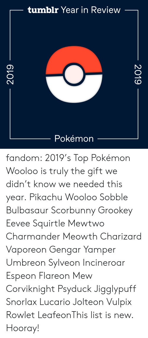 The Gift: tumblr Year in Review  Pokémon  2019  2019 fandom:  2019's Top Pokémon  Wooloo is truly the gift we didn't know we needed this year.  Pikachu  Wooloo  Sobble  Bulbasaur  Scorbunny  Grookey  Eevee  Squirtle  Mewtwo  Charmander  Meowth  Charizard  Vaporeon  Gengar  Yamper  Umbreon  Sylveon  Incineroar  Espeon  Flareon  Mew  Corviknight  Psyduck  Jigglypuff  Snorlax  Lucario  Jolteon  Vulpix  Rowlet  LeafeonThis list is new. Hooray!