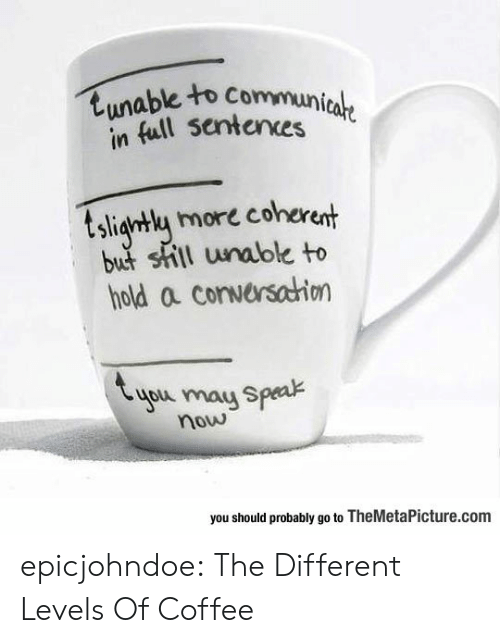 Levels: tunable to Communicale  in full sentences  tsligntly more coherent  but shill unable to  hold a conversahion  you may Speak  now  you should probably go to TheMetaPicture.com epicjohndoe:  The Different Levels Of Coffee