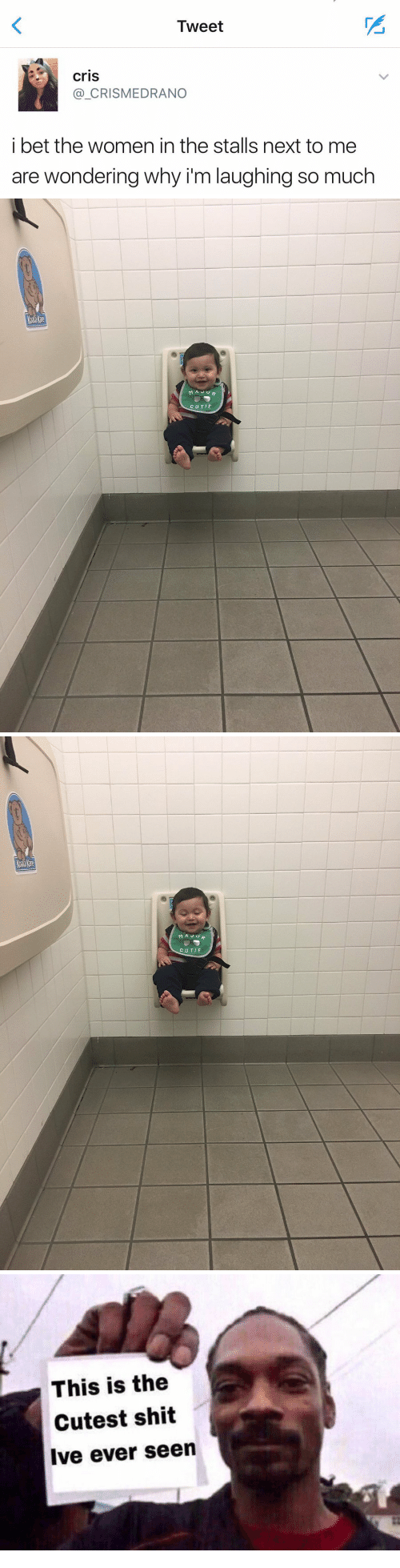 I Bet, Shit, and Women: Tweet  cris  _CRISMEDRANO  i bet the women in the stalls next to me  are wondering why i'm laughing so much   ar  CUTIE   ar  MAJU  CUTIE   This is the  Cutest shit  Ive ever seen