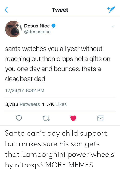 Reaching: Tweet  Desus Nice  @desusnice  santa watches you all year without  reaching out then drops hella gifts on  you one day and bounces. thats a  deadbeat dad  12/24/17, 8:32 PM  3,783 Retweets 11.7K Likes  Σ Santa can't pay child support but makes sure his son gets that Lamborghini power wheels by nitroxp3 MORE MEMES