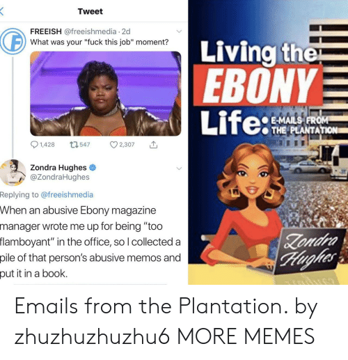 "fuck this: Tweet  FREEISH @freeishmedia 2d  Living the  EBONY  Life:  What was your ""fuck this job"" moment?  E-MAILS FROM  THE PLANTATION  1,428  L1547  2,307  Zondra Hughes  @ZondraHughes  Replying to @freeishmedia  When an abusive Ebony magazine  manager wrote me up for being ""too  flamboyant"" in the office, so I collected a  Zondra  Hughes  pile of that person's abusive memos and  put it in a book. Emails from the Plantation. by zhuzhuzhuzhu6 MORE MEMES"