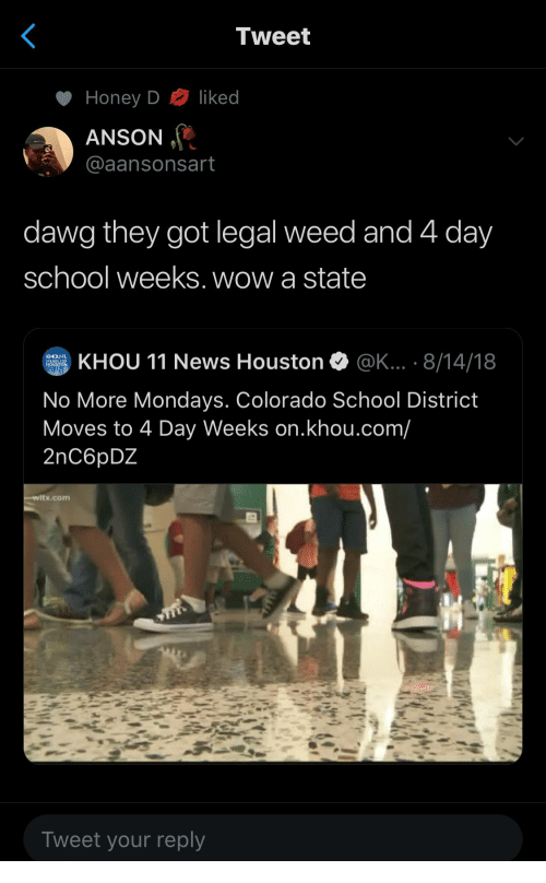 dawg: Tweet  liked  Honey D  ANSON  @aansonsart  dawg they got legal weed and 4 day  school weeks. wow a state  KHOU 11 News Houston  @K... . 8/14/18  KHOU  STANDS FOR  HOUSTON  No More Mondays. Colorado School District  Moves to 4 Day Weeks on.khou.com/  2nC6pDZ  witx.com  Tweet your reply