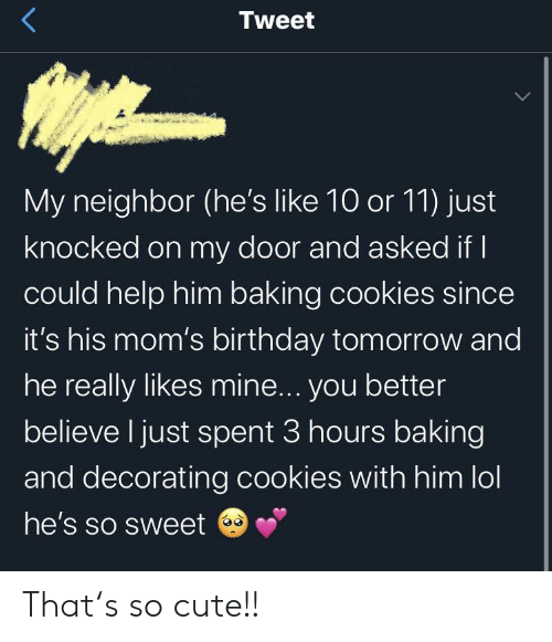 Birthday, Cookies, and Cute: Tweet  My neighbor (he's like 10 or 11) just  knocked on my door and asked if I  could help him baking cookies since  it's his mom's birthday tomorrow and  he really likes mine... you better  believe I just spent 3 hours baking  and decorating cookies with him lol  he's so sweet That's so cute!!