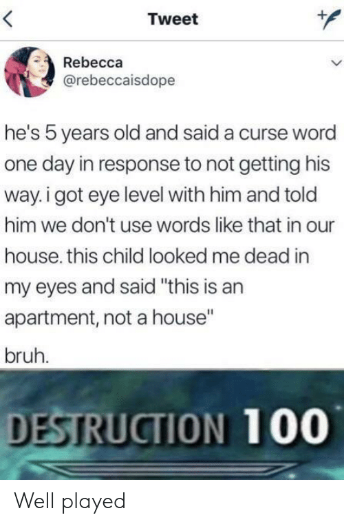"Bruh, House, and Word: Tweet  Rebecca  @rebeccaisdope  he's 5 years old and said a curse word  one day in response to not getting his  way. i got eye level with him and told  him we don't use words like that in our  house. this child looked me dead in  my eyes and said ""this is an  apartment, not a house""  bruh.  DESTRUCTION 100 Well played"