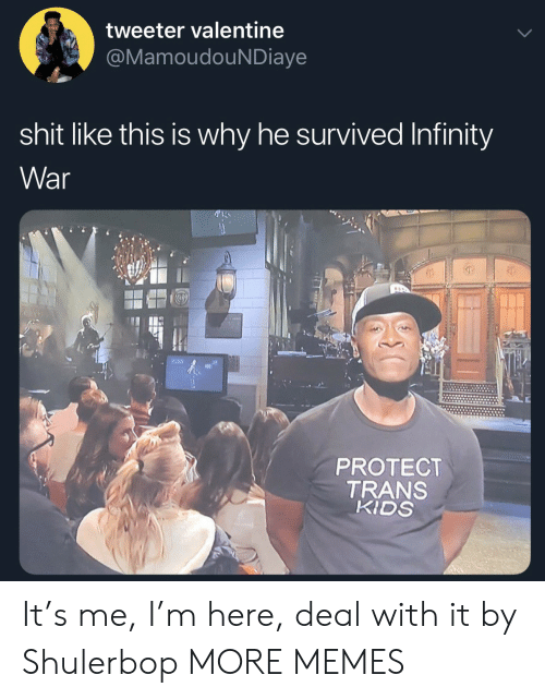 deal with it: tweeter valentine  MamoudouNDiaye  shit like this is why he survived Infinity  War  0)  PROTECT  TRANS  KIDS It's me, I'm here, deal with it by Shulerbop MORE MEMES