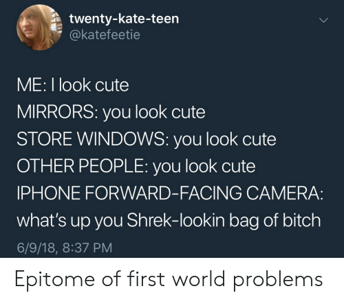 Bitch, Cute, and Iphone: twenty-kate-teen  @katefeetie  ME: I look cute  MIRRORS: you look cute  STORE WINDOWS: you look cute  OTHER PEOPLE: you look cute  IPHONE FORWARD-FACING CAMERA:  what's up you Shrek-lookin bag of bitch  6/9/18, 8:37 PM Epitome of first world problems