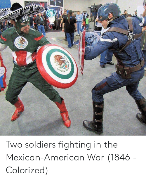 Soldiers, American, and Mexican: Two soldiers fighting in the Mexican-American War (1846 - Colorized)