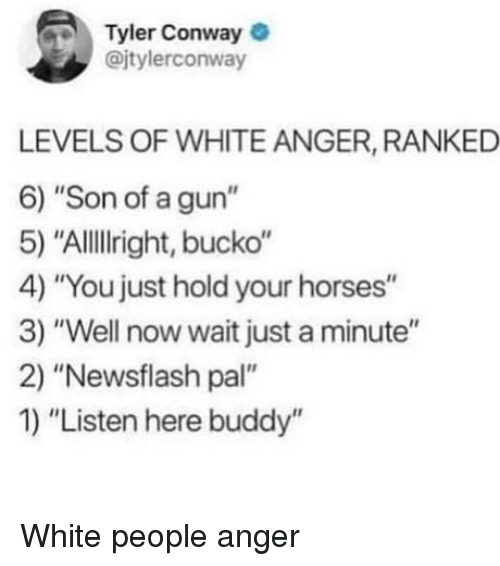 "Conway: Tyler Conway  @jtylerconway  LEVELS OF WHITE ANGER, RANKED  6) ""Son of a gun""  5) ""AlllIright, bucko""  4) ""You just hold your horses""  3) ""Well now wait just a minute""  2) ""Newsflash pal""  1) ""Listen here buddy"" White people anger"