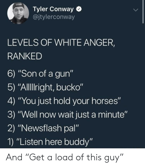"Conway: Tyler Conway  @jtylerconway  LEVELS OF WHITE ANGER,  RANKED  6) ""Son of a gun""  5) ""AlllIright, bucko""  4) ""You just hold your horses""  3) ""Well now wait just a minute""  2) ""Newsflash pal""  1) ""Listen here buddy"" And ""Get a load of this guy"""