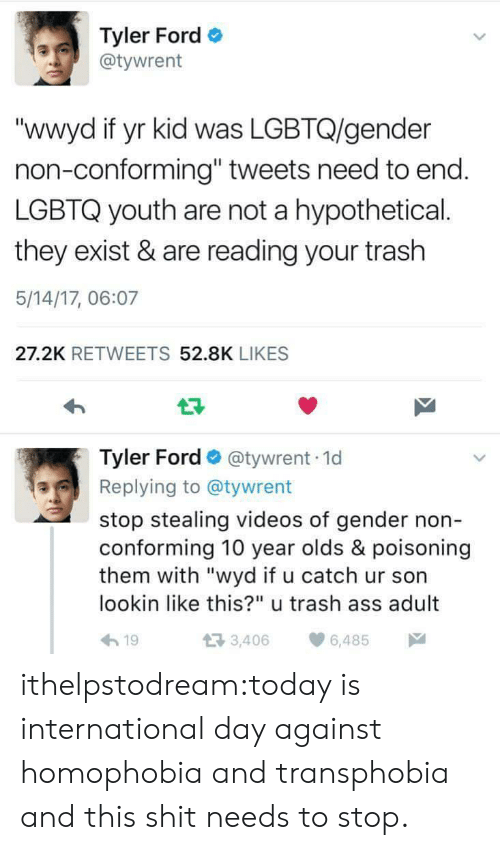 "International: Tyler Ford  @tywrent  ""wwyd if yr kid was LGBTQ/gender  non-conforming"" tweets need to end  LGBTQ youth are not a hypothetical.  they exist & are reading your trash  5/14/17, 06:07  27.2K RETWEETS 52.8K LIKES  Tyler Ford @tywrent 1d  Replying to @tywrent  stop stealing videos of gender non  conforming 10 year olds & poisoning  them with ""wyd if u catch ur son  lookin like this?"" u trash ass adult  h19  3,406 6,485 ithelpstodream:today is international day against homophobia and transphobia and this shit needs to stop."