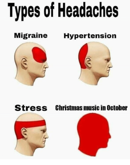 hypertension: Types of Headaches  ligraine Hypertension  Stress  Christmas music in October