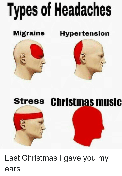 hypertension: Types of Headaches  Migrai  ne Hypertension  stress Christmas music Last Christmas I gave you my ears
