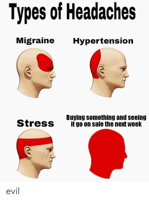 hypertension: Types of Headaches  Migraine  Hypertension  Buying something and seeing  it go on sale the next week  Stress evil
