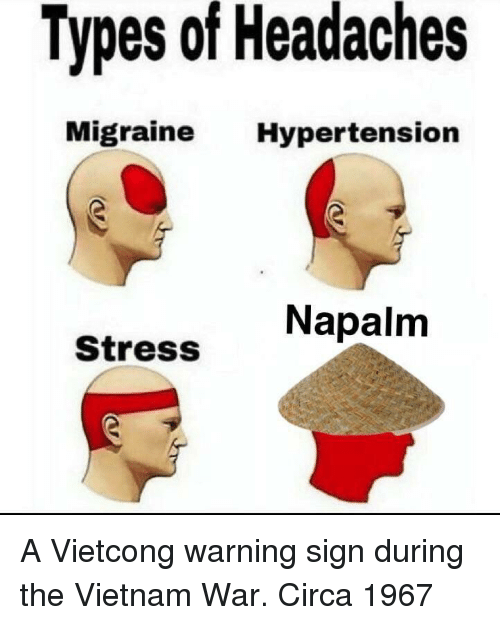 hypertension: Types of Headaches  Migraine Hypertension  Napalm  Stress A Vietcong warning sign during the Vietnam War. Circa 1967