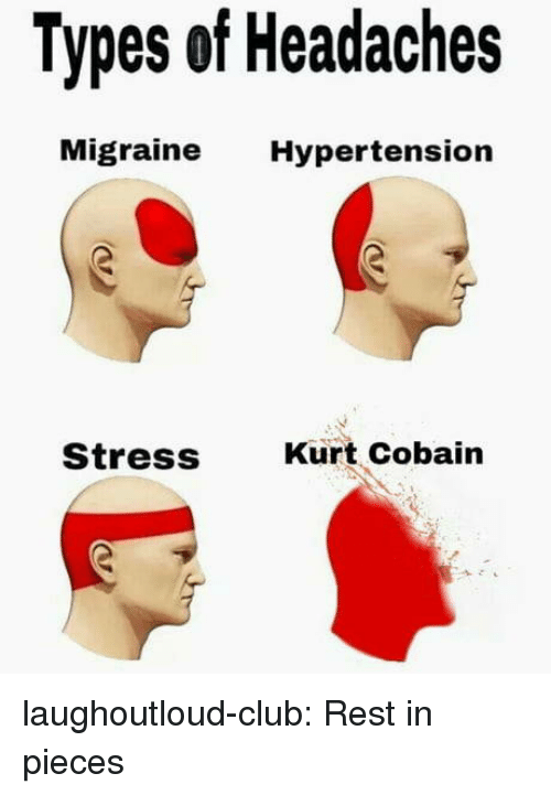 hypertension: Types of Headaches  Migraine Hypertension  Stress  Kurt Cobain laughoutloud-club:  Rest in pieces