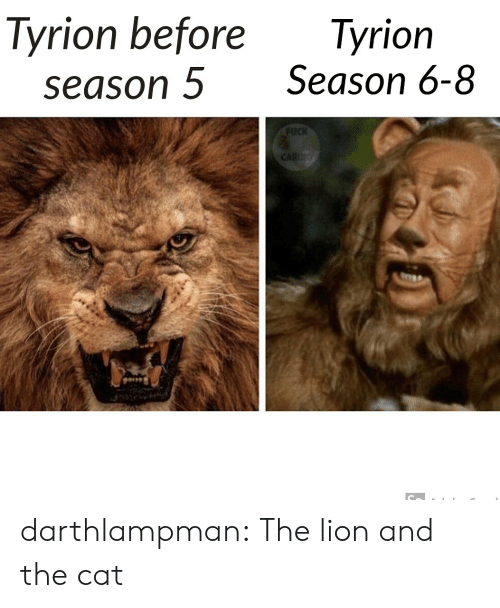 Tumblr, Blog, and Fuck: Tyrion before  season 5  Tyrion  Season 6-8  FUCK  CARDO darthlampman:  The lion and the cat