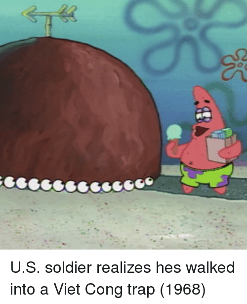 viet cong: U.S. soldier realizes hes walked into a Viet Cong trap (1968)