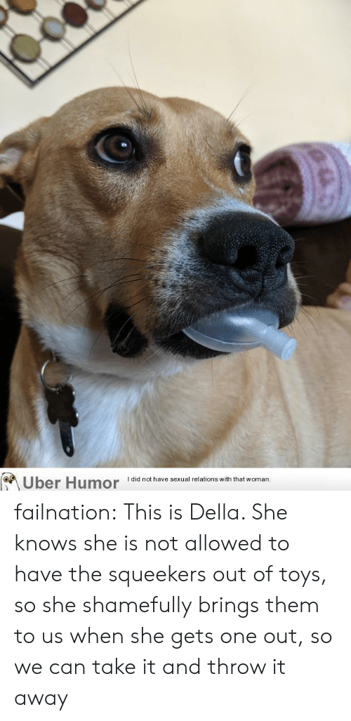 She Knows, Tumblr, and Uber: Uber Humor  I did not have sexual relations with that woman.  @u failnation:  This is Della. She knows she is not allowed to have the squeekers out of toys, so she shamefully brings them to us when she gets one out, so we can take it and throw it away