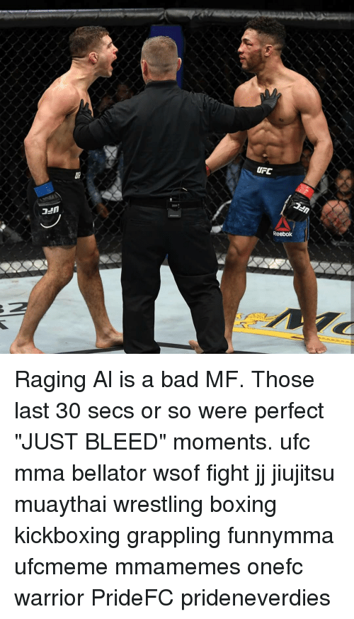 "MMA: UFC  Reebok Raging Al is a bad MF. Those last 30 secs or so were perfect ""JUST BLEED"" moments. ufc mma bellator wsof fight jj jiujitsu muaythai wrestling boxing kickboxing grappling funnymma ufcmeme mmamemes onefc warrior PrideFC prideneverdies"