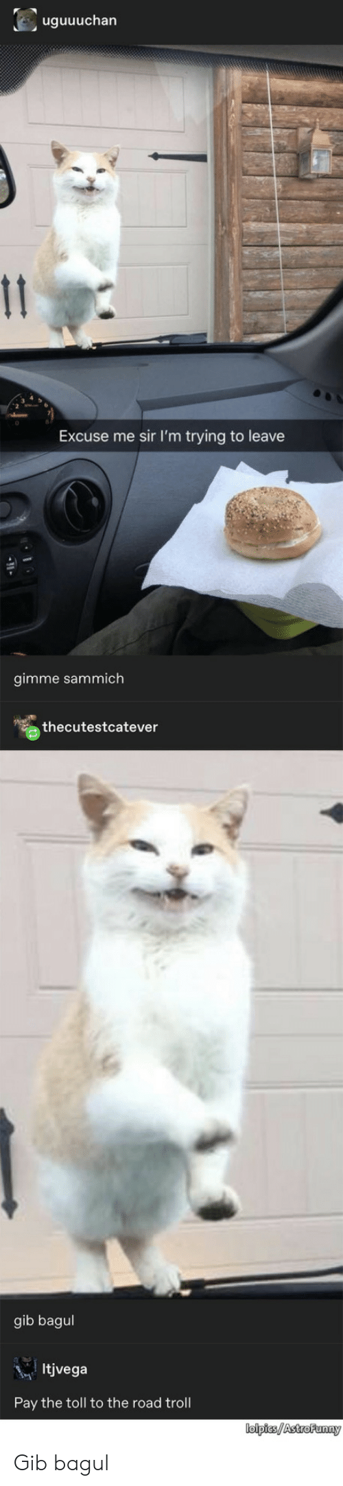 Troll, The Road, and Sir: uguuuchan  11  Excuse me sir I'm trying to leave  gimme sammich  thecutestcatever  gib bagul  Itjvega  Pay the toll to the road troll  lolpies/AstroFunny Gib bagul